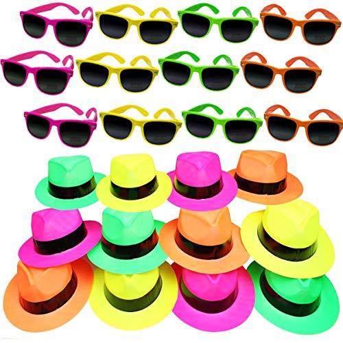 German Trendseller®- 24er Neon Party - Set ┃ 12 Neon Hüte + 12 Neon Sonnenbrille UV400 ┃ Karneval Fasching ┃ Party Knaller ┃ Kostüm ┃ Für 12 Personen