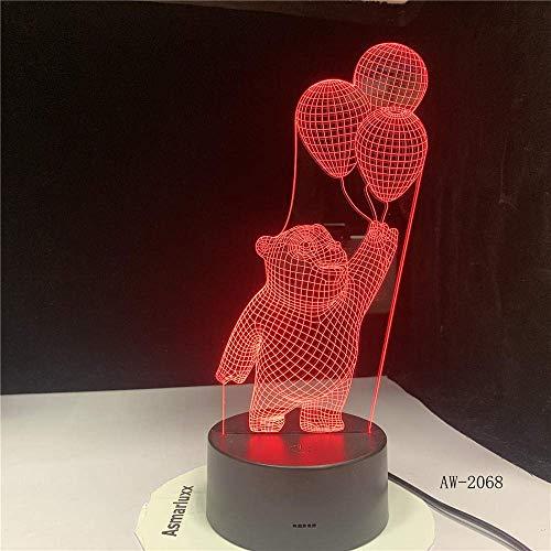 Luz de globo de oso pequeño 3D LED Canto Decoración de canto Lámpara de escritorio de dibujos animados visual USB 7 Fijación nocturna para iluminación nocturna Primavera AW-2068