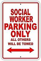 コーヒーヤードの家の台所の壁の装飾、ソーシャルワーカーの駐車場のみのサイン、ビンテージ外観の再現屋内および屋外での使用が容易なガレージ用のアルミニウム金属サイン