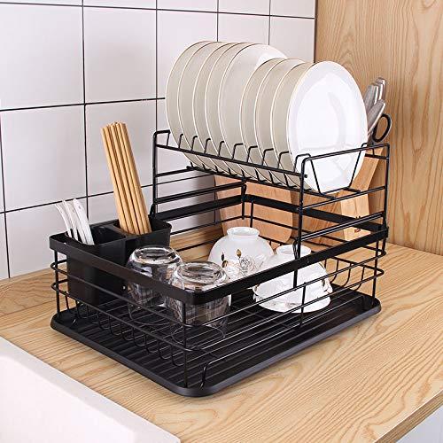 COVAODQ Bandeja de drenaje, estante de secado desmontable, 2 capas, con bandeja de goteo, estante para cubiertos, estante para vajilla, caja de almacenamiento, juego de 43 × 32 × 27 cm (negro)