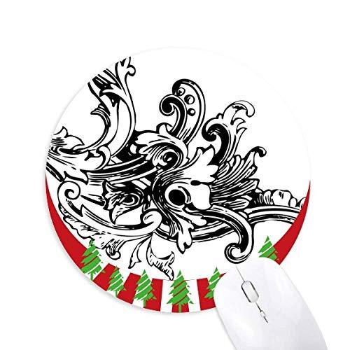 Barock Art Dekoration Modernes Muster rund Gummi Maus Pad Weihnachtsdekoration