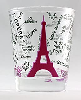 Paris France Eiffel Tower and Map Pink Shot Glass