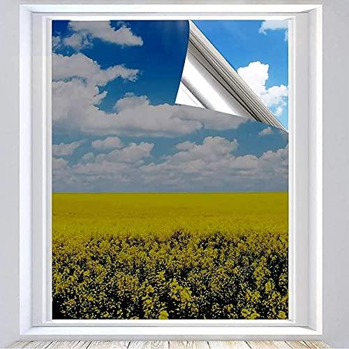 XtraCare Vinilos para Ventanas Privacidad Lámina Adhesiva Película de Ventana 99% Anti UV y Control de Calor Vinilo para Ventana Espejo Cocina Oficina (Plata 90x400cm)