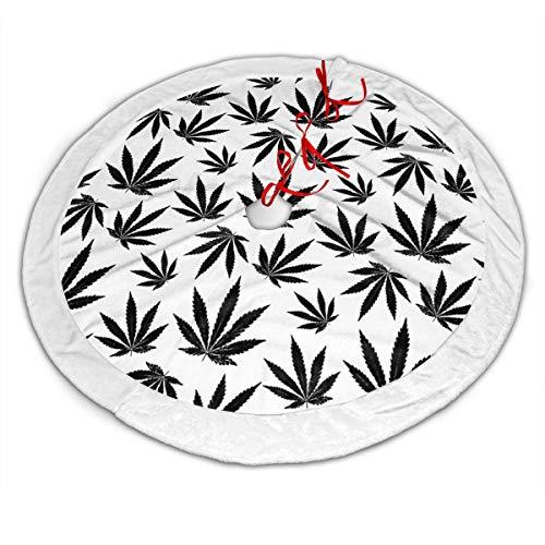 Sunny R Cannabis Blatt Weihnachtsbaum Rock Plüsch Baum Rock Ornamente für Weihnachten Party und Urlaub Dekorationen 30 Zoll