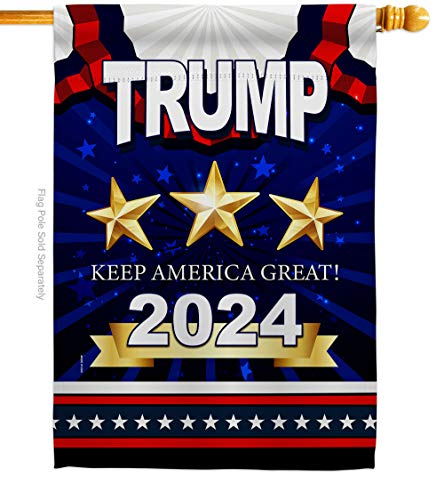 Vote Keep America Great Trump House Flag Patriotic President Democrat Republican Tea Party United State American Election Small Decorative Gift Yard Banner Double-Sided Made in USA 28 X 40