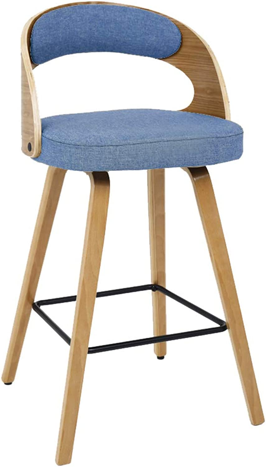 CAIJUN Wooden Bar Stool Multipurpose Thick Cotton Cushion with Backrest Breathable Leisure Simple, 9 colors, 70cm High Dual-use (color   A, Size   48x48x99cm)