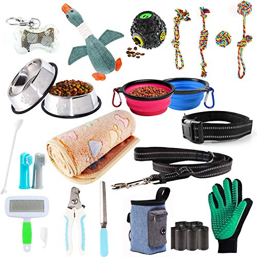 Puppy Starter Kits for Small Dog, 24pcs New pup Dog Starter kit Gift Set,Includes:Dog Toys/Dog Bed Blankets/Dog Grooming Tool/Puppy Training Supplies/Dog Leashes Accessories/Feeding Supplies (24pcs)