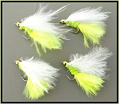 4 X Goldhead YELLOW & WHITE Damsel lures. Trout Fly Fishing Flies. Hook size 12 by ARC FISHING SUPPLIES