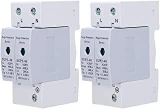2Pcs Surge Protection,SUP2‑40 2P 40KA 420V AC Device Anti‑Thunder Electronic Component Safe and Reliable Easy to Carry and...