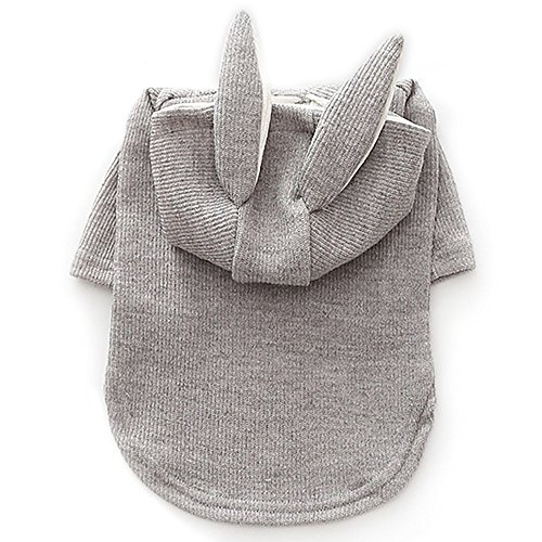 Bunny Rabbit Costumes for Dogs & Cats Party Costume Hoodies 2 Legs Pet Clothes Winter Sweatshirt Warm Sweater (FB, Gray Bunny)