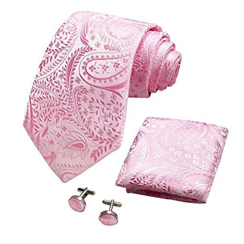 CANGRON Hombres Paisley rosada del lazo corbata Conjunto con Pocket ajustan las mancuernas + Caja de regalo ELSP8FS