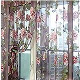 Buty Cortinas De Flores para Windows, Elegante Gasa Cortina De La Ventana, Ventana De La Puerta Cortinas Transparentes para Sala Comedor