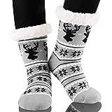 Calmare Mujeres zapatillas calcetines, señoras acogedor suave deslizamiento deslizador calcetines de cama, Navidad copo de nieve alces zapatillas calcetines para mujeres niñas (Gris)