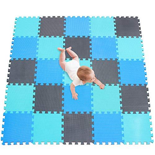 meiqicool Puzzlematte | Sanfte Baby-Bodenmatte | Kinderspielteppich Spielmatte Spielteppich Schaumstoffmatte Kinderteppich 142 x 142 cm Schutzmatte 25 Stück GHL