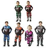 WULFSPORT Attack Motorbike Kids Race Suit New 2017 Motocross Quad Enduro ATV MX Pit Sport Junior Pant Shirt Kit - Black - 8-10 Years