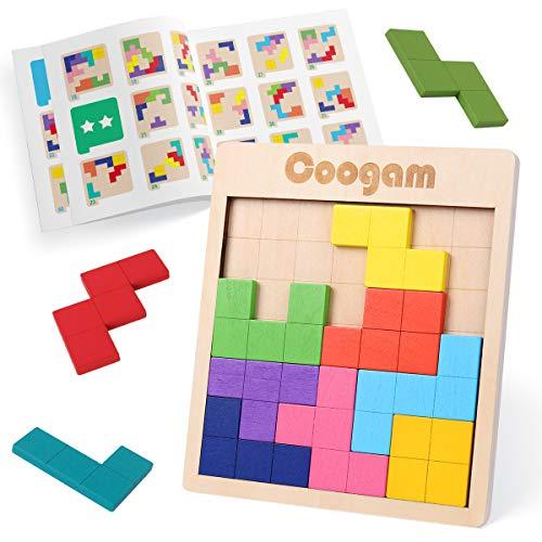 Coogam Tangram in legno Puzzle Pattern Blocks Rompicapo Gioco con 60 sfide, 3D Giocattolo da costruzione russo Puzzle a forma di legno Montessori