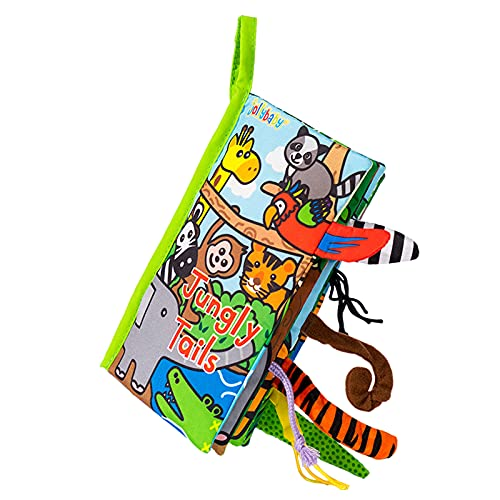 HECCEI Baby Cloth Books, Soft Toys Cloth Books, Touch and Feel Crinkle Books, Early Development Baby Stroller/Crib Hanging (Jungly Tails Cloth Book)