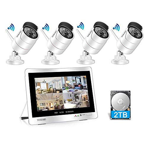 Yeskamo Funk Überwachungskamera Set Aussen Wlan mit 8CH 1080P 12-Zoll IPS Monitor und 4pcs 3 MP Outdoor WiFi Kameras 2 TB Festplatte für die Aufnahme von H.265 Hausalarmanlagen mit Bewegungserkennung