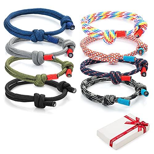 Juego de 8 pulseras trenzadas geniales para hombre mujer, pulsera de surf náutica colorida con cordón de cuerda marina para hombres niños, pulseras ajustables hechas a mano azul marino de regalo