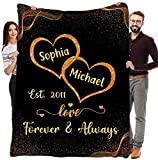 Personalized Couples Blankets with Names in Heart, Best Gift for Your Life Partner with Quotes, Valentine's Day Gifts, Birthday Gift, for Couples, Supersoft and Cozy Blanket (60' X 80') (BK10002)