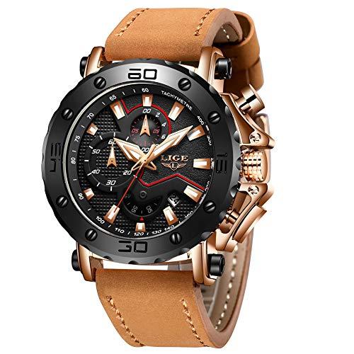 LIGE Herrenmode Sport Quarzuhr Braun Lederarmband Chronograph Wasserdicht Auto Datum Analog Herren Armbanduhren