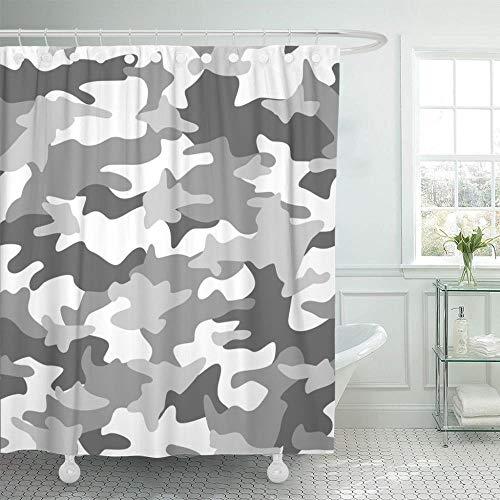 Buntes Camoflage-Tarnmuster Abstrakt Hellgrün Camo-Grau-Duschvorhang Wasserdichtes Polyestergewebe 60 X 72 Zoll, 90 X 180 cm