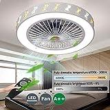 Ventiladores De Techos Con Iluminación Velocidad Del Viento Ajustable Ventilador De Techo Carrefour Remoto Control Regulable 80W LED Techo Lámpara Súper Silenciosa Invisible Ventilador,56cm(a1)