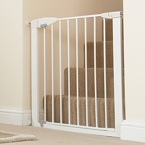 Munchkin Easy Close Pressure Mounted Baby Gate for Stairs, Hallways and Doors, Walk Through with Door, Metal, White