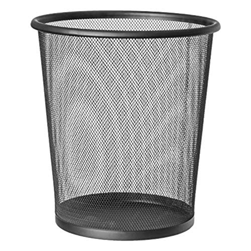 EUROXANTY® Papelera de Oficina | 28 x 26 cm | Papelera Circular de Rejilla metálica | Papelera Negra | 12 L
