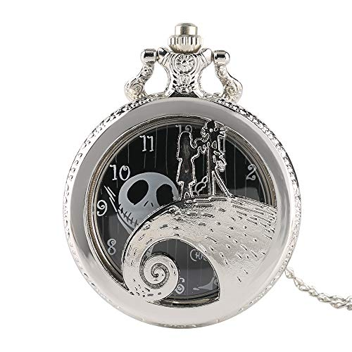 The Nightmare Before Christmas Silber-Taschenuhr, Antqiue Engarved Quarz-Taschenuhr, das Geschenk für Herren Tim Button The Nightmare Before Christmats
