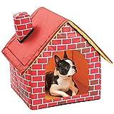 Ailyoo Caliente y Confortable Rojo Brick Pet Cama Interior Grande Mediana Pequeña Lavable Plegable Portátil para Perros y Gatos Medianos y Pequeños