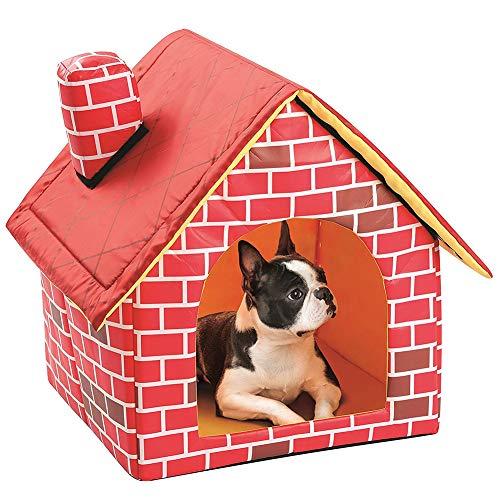 Sysow Faltbare Katzenhaus, Katzenhütte wetterfest,Cat Dog House/Pet Einzelbett Zimmer/Zwinger Cattery Zelt, für draußen mit Katzenklappe und VOLLSOLIERUNG, Outdoor Katzenhöhle für Katzen, Spitzdach