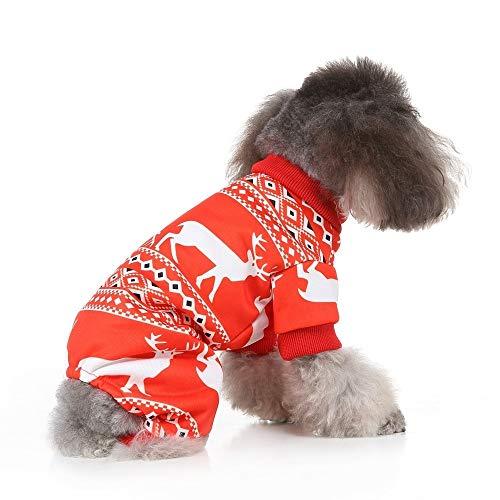 JSANSUI Gepersonaliseerde hondenkleding Huisdier Honden Kerst Kostuums, Kerst Huisdier Kleding Persoonlijkheid Aankleden Huisdier Kleding voor Hond Pajamas Suit, Grootte: S, SDZ78 Rood