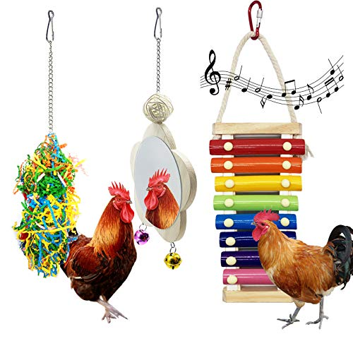 EBaokuup 3PCS Chicken Toys for Hens, Chicken Xylophone Toy, Chicken Mirror Toy with Bell and Foraging Shredder Toys, Suspensible Wood Xylophone Toy with 8 Metal Keys for Chicks Hens Parrot Bird