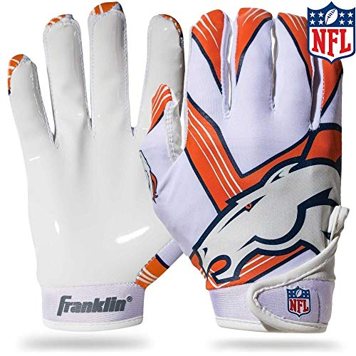 Franklin Sports Denver Broncos Youth NFL Football Receiver Gloves - Receiver Gloves For Kids - NFL Team Logos and Silicone Palm - Youth M/L Pair