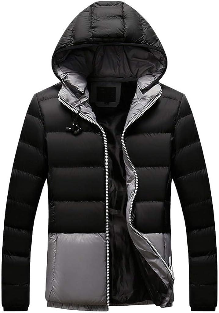 Men's Hooded Down Coat Long Sleeve Lightweight Windproof Warm Soft Winter Outwear