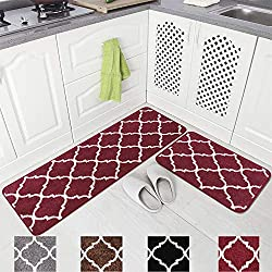 Carvapet 2 Pieces Microfiber Moroccan Trellis Non-Slip Soft Kitchen Mat