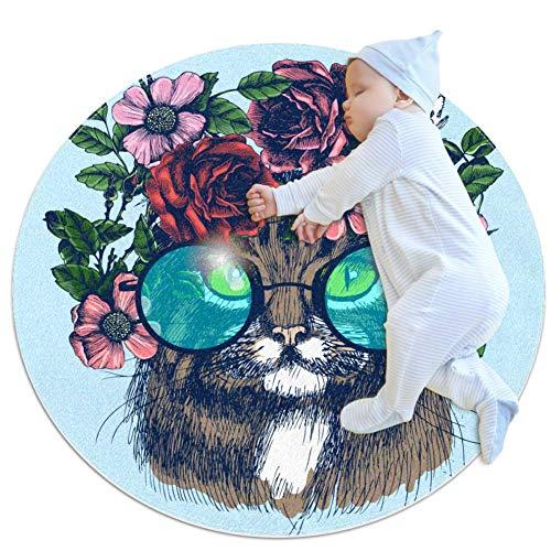 HDFGD Maine Coon - Alfombrilla de algodón con diseño de gato con corona floral para bebé, antideslizante, lavable, 31.5 x 31.5 pulgadas