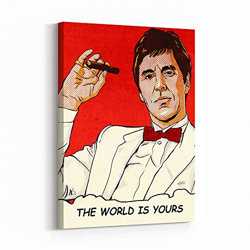 Inktuitive 'Tony's World' Inspirational Wall Art | Scarface The World is Yours Canvas Print | Motivational Décor for Bedroom, Living Room & Business Office | 24 x 18 Inches