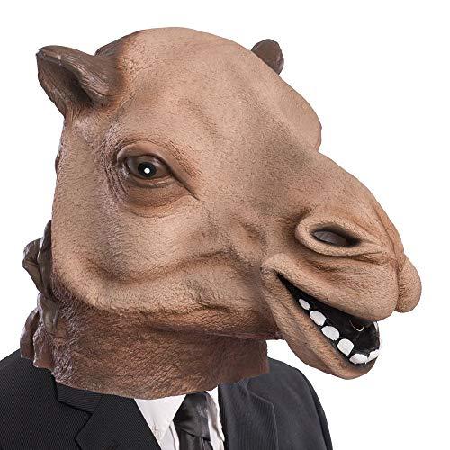 Mscara de ltex de camello para carnaval, disfraz de adulto