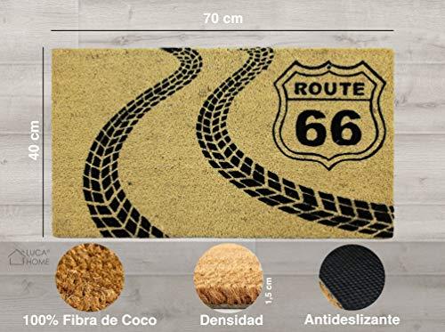 LucaHome - Felpudo Coco Natural 40x70 Antideslizante, Felpudo de Coco Ruta66, Felpudo Absorbente Entrada casa, Ideal para Exterior o Interior