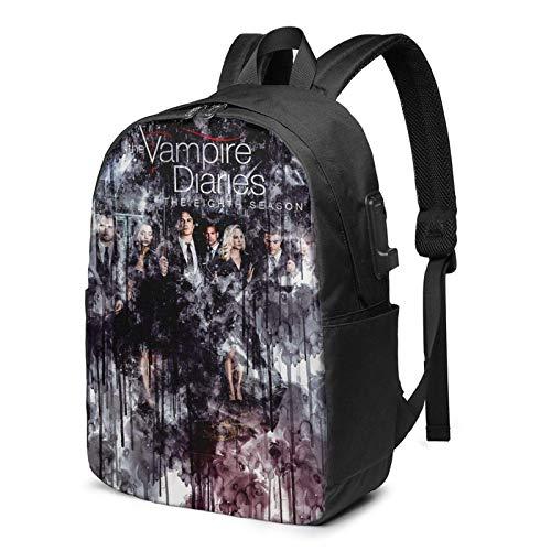 XCNGG The Vam_p-ire Di-ar-ies Mochila de viaje de 17 pulgadas para ordenador portátil mochila para hombres y mujeres jóvenes con puerto de carga USB