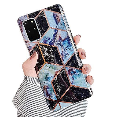 Urhause Kompatibel mit Samsung Galaxy S20 Plus Hülle TPU Silikon Bunt Schutzhülle,[Marmor Muster Silikonhülle] Hülle Gemalt,Ultra Slim Durchsichtig mit Muster Bumper Stoßfest Hülle,Dunkelblau