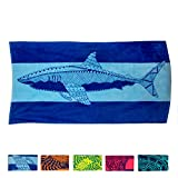 """Nova Blue Shark Beach Towel – Blue with A Tropical Design, Extra Large, XL (34""""x 63"""") Made from 100% Cotton for Kids & Adults"""