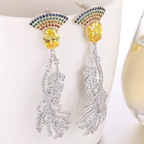 Joyería de moda Pendientes colgantes de hoja de oro blanco para mujeres con circón Aaa Pendientes colgantes nupciales Club FactoryMul
