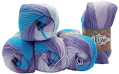 Bella Batik 3677 - 5 ovillos de 100 g de lana de algodón 100 % para tejer (lila, turquesa y blanco)