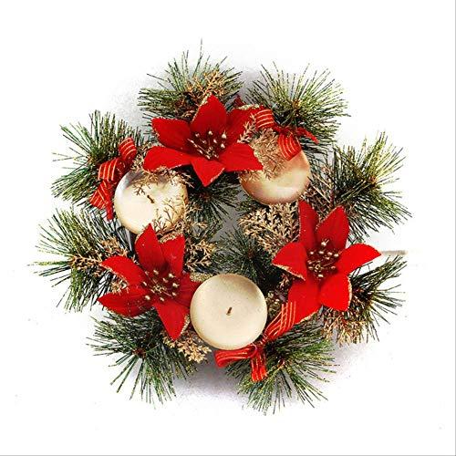 XFLOWR Kerstmis decoratieve candlestick ornament Xmas bloemen dennenappels krans met kaarsenhouder voor home party Supply Decor rood
