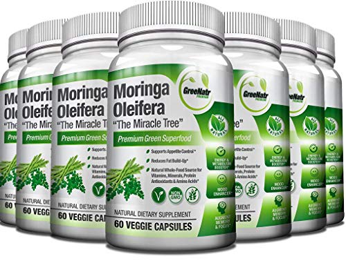 Pure Moringa Oleifera Leaf Extract Capsules, 1000 mg per Serving. Gluten Free, Non GMO, Vegan Antioxidant Capsules. Natural Energy, Mood, Memory and Focus Enhancer. Green Superfood (Pack of 12)