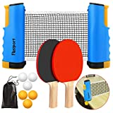 FBSPORT Ping Pong Paddle Set, Portable Table Tennis Set with Retractable Net, 2 Rackets, 6 Balls and Carry Bag for Children Adult Indoor/Outdoor Games,Blue