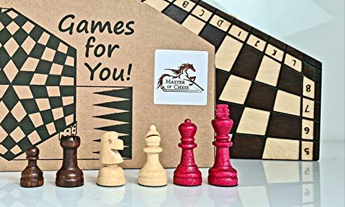 Master of Chess Unique 3 JUGADORES AJEDREZ Juego de ajedrez de madera, Juego de ajedrez único hecho a mano (Mediano 40 x 35 cm)